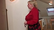 Two repairmen fuck with slut busty grandma from both ends