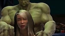 Foxy babe in stockings gets her ass fucked by The Incredible Hulk high