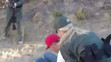 Shameless amateur sluts fucked real hard in three way with border patrol agent