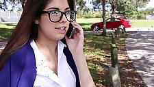 InnocentHigh Hot schoolgirl Ava Taylor in nerdy glasses gets fucked in hardcore