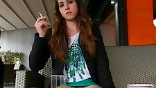 Exhibitionist smoking cigarettes and showing off in public