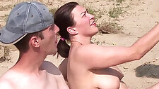 Real party with sexy amateur threesome on the beach