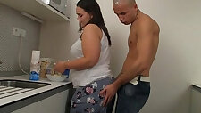 He thrusts his horny cock into her pussy