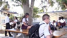 Teen Cassidy Klein sucking on schoolyard