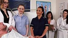CFNM nurses cocksucking patient in group
