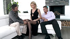 Leggy blonde is about to take two dicks