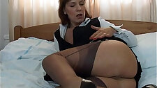 Horny asian babe in stockings wants more