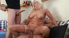 Hot 3some with blonde grandma