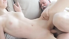 Horny babe gets screwed by old lad