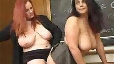 Hot teacher with amazing big tits licks